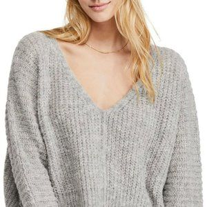 Free People - Light Grey Moonbeam V Neck Sweater